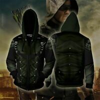Superhero Green Arrow Cosplay 3D Sweatshirt Hoodie Jacket Coat Costume Halloween