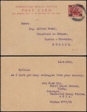 Federated Malay States 1921 provisional card tiger Ascher 6 KLANG Selangor- CSSR