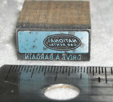 Vintage NATIONAL CAR RENTAL logo Letterpress Print Block ENGRAVED Metal Stamp