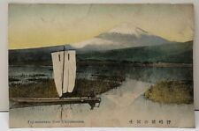 Japan Fuji-mountain from Ukijimanuma, Island Wetlands Swamp Colored Postcard E7