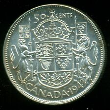"""1943 King George VI, Silver Fifty Cent Piece,  Near """"3""""  I24"""