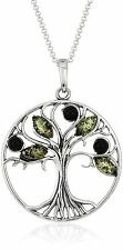 "New 18"" Green Amber Gem Stone Sterling Silver Tree Pendant Necklace NWT"