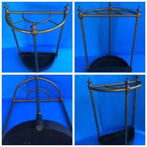 Antique English Cane Umbrella Stick Stand c. 1890s Elegant Brass + Cast Iron
