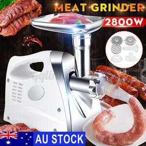 AU 2800W Electric Meat Grinder Sausage Maker Food Filler Kibbe Stuffer Mincer