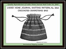 DRAWSTRING BAG BOHO Crocheted VTG Ladies' Home Journal MO Pattern No. 2045 LHJ