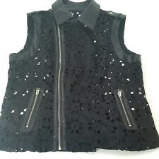 Luii Anthropologie Black Cut out Embroireded Vest Coat Full Zip Women Size XL