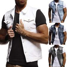 New Men's Denim Vest Jean Jacket Waistcoat Sleeveless Trendy Slim Casual Jacket