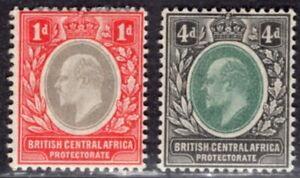 BRITISH CENTRAL AFRICA 1903/4 STAMP Sc. # 60 AND 64 MH