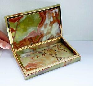 Weighty Vintage Onyx Marble & Brass Hinged Cigarette Box. G.S.E Ottone Garantito