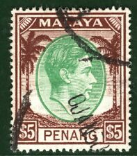 MALAYA KGVI High Value $5 PENANG Stamp Used CDS ex Old-time Collection BLUE139