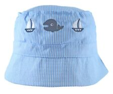 Baby Sun Hat Boys Girls Cotton Bucket Summer Whale and Boats Stripes 6-24 Mths 50cm 18 Months-2 Years Approx