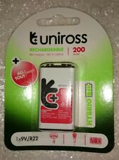 Uniross Hybrio 9V 200 mAh NiMH Rechargeable Battery, Stay Charged 9 Volt PP3