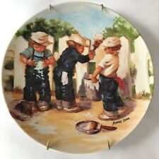 Edwin M Knowles Fine China Plate Jeanne Down A Coat of Paint 1985 Fence Painting