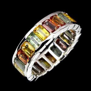Natural Octagon Cut 5x3 Mm Pad Yellow Green Orange Sapphire 925 Silver Ring Sz 8