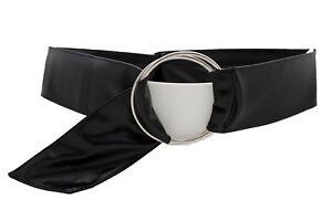 Women Black Wide Waisted Fabric Stylish Belt Big Silver Metal Ring Buckle S M L