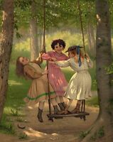 """perfect 24x36 oil painting handpainted on canvas """"three little girls""""@3931"""