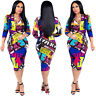 Womens Casual Dress Floral Midi Skirt Bodycon Clothing Zipper Party Cocktail