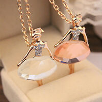 New Ballet Dancing Girl Lady Pendant Long Chain Sweater Necklace Ballerina Gift