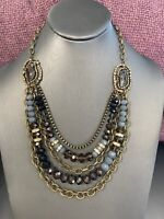 Vintage Brass Tone Bohemian Beaded Multi Strand Chunky Necklace Blue Black 22""