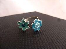 Pilgrim Jewelry Cyan Swarovski Crystal Blue Adjustable Bi-Flower Ring: 320204