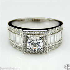 Ring 14K WhiteGold 0.82CT Diamond Engagement Ring For Men Round Fathers Day Gift