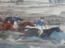 Belle gravure aquarellée THE RACE FOR THE ST LEGER  course chevaux horse XIX