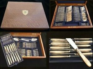 ANTIQUE FRENCH STERLING SILVER MOTHER OF PEARL FLATWARE SET, 130 pieces