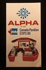 Worlds Fair Expo 1986 Vancouver Alpha Scientific Labs Canada Pavilion Brochure