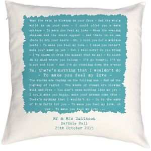 Adele 'Make You Feel My Love' Personalised Cushion 2nd Cotton Anniversary Gift