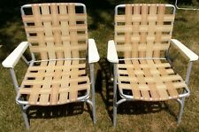 New listing Pair Vtg Aluminum Folding Webbed Lawn Chair gold silver tan beach lounge