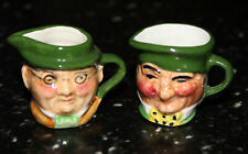 Vintage Artone miniature Toby jug - pair of double sided face mugs creamer