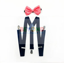 Coral Pink Navy Blue Suspender and Bow Tie Set for Adults Men Women (USA Seller)