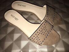 NINE WEST Tan Leather Studs Mule/Sandals, Size UK 8 EUR 41.5