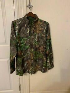 Mossy Oak Long Sleeve Camo Hunt Shirt for Men,Button Up Camo Shirt w-Pockets NWT