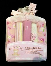 Snugly Baby Girls Flannel Receiving Blankets 6 piece Gift Set New