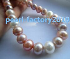 """18""""  11-12MM AAAA white purple pink SOUTH SEA  Multicolor PEARL NECKLACE 18"""" 14k"""