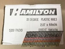 20 21 22 Degré 2.8 x 64 mm Bright Smooth plastique rassemblaient Framing ongles 5000 Qté