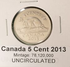 2013 Canada 5 Cent - UNCIRCULATED from Mint Roll 🇨🇦