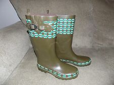 Capelli Tall Green Design Rubber Rain Boots Size 7 Women's EUC