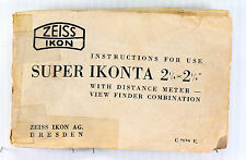 Zeiss Ikon Original Instruction Manual for Super Ikonta B - 2-1/4 x 2-1/4 - 1940