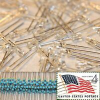 100x Warm White 3mm Round Top LEDs Water Clear Light 12v Resistor Kit USA