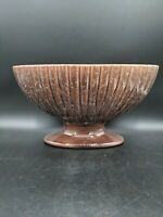 Vintage Haeger Floral Oval Ribbed Planter Drip Glaze Brown Green USA Pottery