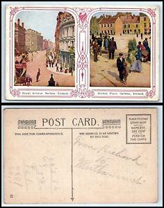 IRELAND Postcard - Belfast, Royal Avenue - Galway, Market Place FB