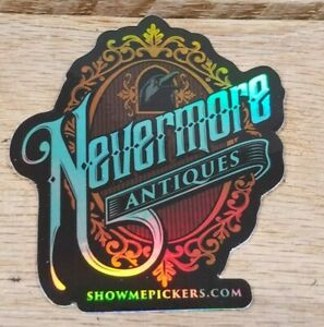 """3"""" Nevermore Antiques Logo Sticker Holographic"""