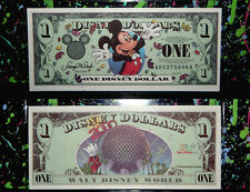 mint $1 MICKEY EPCOT CENTER SPACESHIP DISNEY DOLLAR 2000 A Series w/ bill sleeve