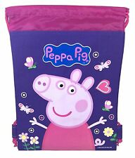 Purple Peppa Pig Drawstring Backpack School Sport Gym Bag