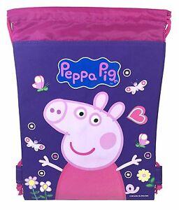 Purple Peppa Pig Drawstring Backpack School Sport Gym Bag