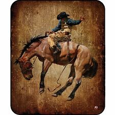 Western Cowboy Bronco Horse Queen Luxury Plush High Quality Mink Blanket 79 X 94