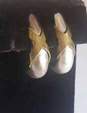 VTG TAXCO Signed Mixed Metal Mexico Sterling Silver Brass Earrings 26 gram X HUG