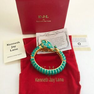 Kenneth Jay Lane's KJL Teal Raj Elephant Limited Edition Bangle Bracelet